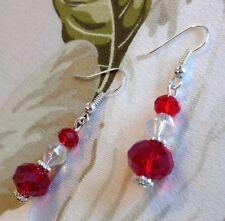 Pretty Sian Red Crystal Rondelle Beads Dangle Pierced Earrings Wedding