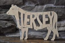 Jersey Cattle Cow Bull Amish Made Wood Puzzle Farm Toy Made is USA