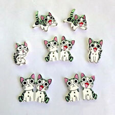 50Pcs/Bag Mix Wooden Cat Animal Shape Buttons Fit Sewing Decoration Scrapbooking