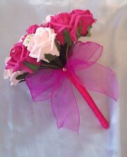 WEDDING FLOWERS ARTIFICIAL PINK IVORY HOT PINK FOAM ROSE BRIDESMAID BOUQUET