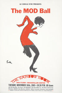 Original Vintage Affiche Mode Balle Arc-en-Ciel Pièce Nyc 1965