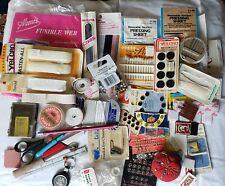 Vintage Sewing Supplies Lot Scissors Snaps Velcro Elastic Pins Needles more