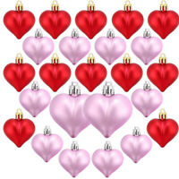 24Pcs Heart Shaped Baubles Heart Valentine's Day Ornament Hanging Decoration