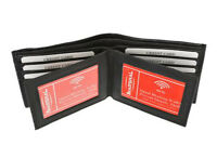 RFID Blocking Black Men's Genuine Leather Bifold Wallet 4 ID Cards Holder