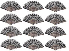 Set of 12 Black Chinese Lace Floral Hand Folding Fans Party Gift US Seller