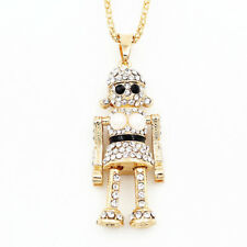 Betsey Johnson Women's Clear Rhinestone Robot Pendant Long Chain Necklace Gift