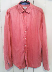 ZARA MAN Size XL Long Sleeve Button Up Red Casual Dress Shirt - Slim Fit, EUR 44