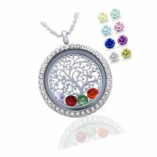 Family Tree Life Floating Living Memory Locket Pendant Necklace Birthstone, A...