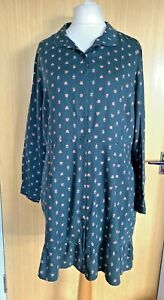 Fat Face Ladies Dress 18 Button Through Disty Floral Winter Casual Smart Work