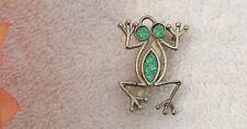 Classic Pin Brooch Frog Amphibian Toad Tadpole Salamander Green Silver Tone G-1