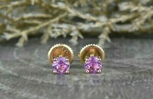 Pink Sapphire Solitaire Stud Earring 14K Yellow Gold Finish 1CT Round Cut Women