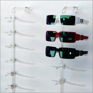 Optical Display - Acrylic Wall Mount Eyewear Display Rod with10 Large Y-clips
