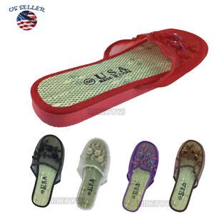 Women Chinese Mesh Slippers Slides Slip On Sandal House Shoe Floral (1)