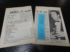 1964 LOGIES TV GUIDE WEEK ARTICLE CLIPPING TV AWARDS OF THE YEAR