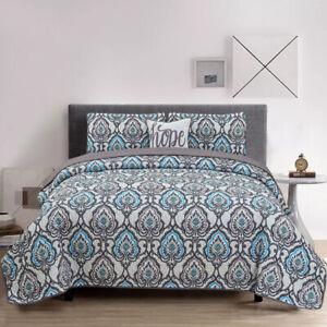 Luxury 4 Pcs Bedspread Queen King Size Down Alternative Reversible Bed Throw Set