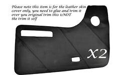 BLACK STITCH 2X DOOR CARDS LEATHER SKIN COVERS FITS VW T2 WESTFALIA CAMPER
