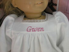 "Gwen Embroidered Name Flannel Nightgown 18"" Doll clothes fits American Girl"