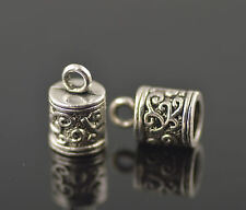 12Pcs Silver End Caps Bead Stopper Fit 5.5mm Cord DIY Jewelry Bracelet Making