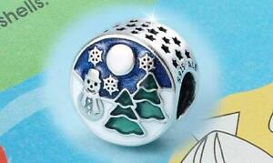 🎀 AUTHENTIC PANDORA SILVER CHARM BEAD 796384 Snowy Winter Wonderland snowman