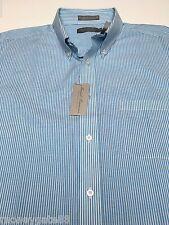 DANIEL CREMIEUX MEN'S XL Cotton-Lyocell-Linen Aqua Blue Striped LONG SLEEVE NWT