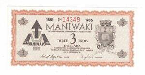 1986, MANIWAKI 135 ANNIVERSARY $3.00 BANK NOTE, RH 14349, ADV. AIRPLANE CL-215