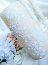 Ivory wedding unity candle set with white lace and pearl for ceremony