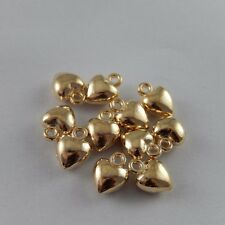 HOT SALE 10PCS KC Gold Tone Alloy Cute Heart Charms Pendant Jewerly 7*7*4mm