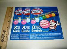 3 Orig Dubble Bubble Fruit Flavor Gumballs Bulk Vending Machine Product Labels