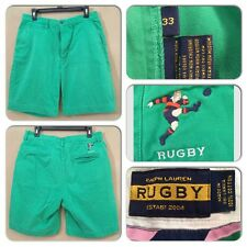 EXC COND RUGBY RALPH LAUREN MENS 33 X 9.5 RARE PLAYER LOGO GREEN CHINO SHORTS