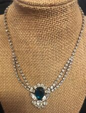 Vintage White & Green Rhinestone Silvertone Nacklace Choker SPARKLY