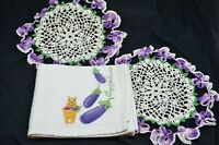 Vtg Pair of Violet Edged Circular Doilies & Embrodered Eggplant/Winnie the Pooh