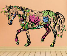Multicolor Flower Horse Wall Sticker Home Decor Room Art Decor Mural Decal Vinyl