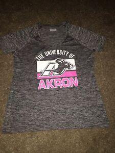 AKRON UNIVERSITY ZIPS Shirt UNDER ARMOUR HEATGEAR Semi Fitted Women Pink Grey XL