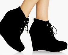 Black Lace Up Wedge Booties Forever 21 NWT