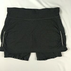 ATHLETA dark grey ruched reflective skort skirt drawstring SIZE M running yoga