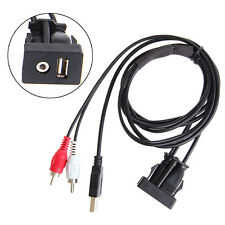 3.5mm 1 M USB AUX Stereo Female To 2 RCA Male Cable Car Boat Mot Flush Mount New
