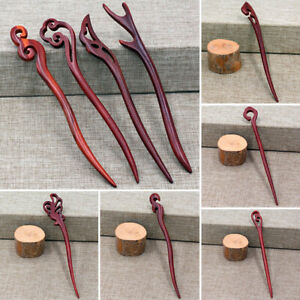 Retro Women's Traditional Hair Pin Carved Ebony Wooden Hair Stick Pins Original