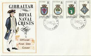 1987 Gibraltar FDC cover Royal Naval Crests