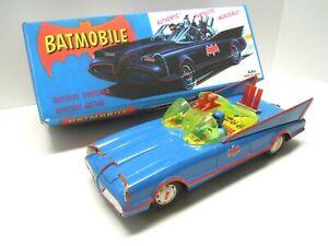 Vintage ASC Tin Battery Op. Japan Batmobile Car & BOX. Excellent & Works.NRES