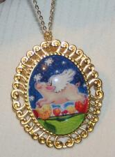 Lovely Swirl Rim Goldtn Colorful Nursery Rhyme When Pigs Fly Necklace Brooch Pin