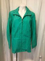 NWT CJ Banks Women's Light Jacket Windbreaker Plus sz 2X Green Zip Front Pockets