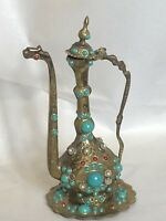 VINTAGE DECORATIVE OTTOMAN TURKISH EWER BRASS FAUX TURQUOISE, RUBY AND PEARL
