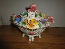 Vintage~Italian Capodimonte Ceramic Candy Dish~Lidded~Floral~Footed