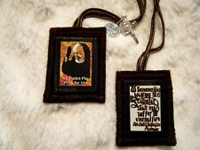 Padre Pio Brown Scapular Quality Made 100% Wool