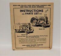 1936 Vintage John Deere Instructions parts list John Deere Model AO and Model AR