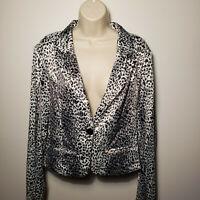 Last Kiss Women's  Fashion Jacket, size Large,  Black White Animal Print Blazer