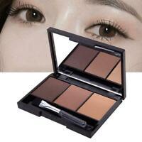 Makeup Natural Eyebrow Powder Palette Eye Shadow Kit w/ Cosmetic UK Brush Q6N8