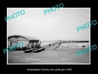OLD LARGE HISTORIC PHOTO OF PORTARLINGTON VICTORIA VIEW OF THE PIER c1900
