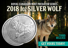2018 Canadian Predator Series The Wolf 1 oz .9999 Silver Round Limited BU Coin