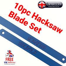 "10pc Hacksaw Blade Set 12""18-24 TPI 300mm Steel Tool DIY Sharp Easy Cut Blue"